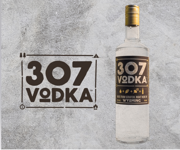 picture of the 307 vodka logo and bottle of vodka