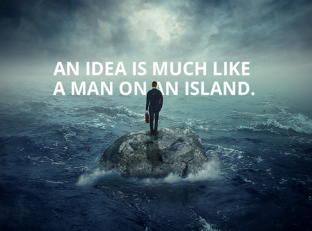A Man standing alone on an island